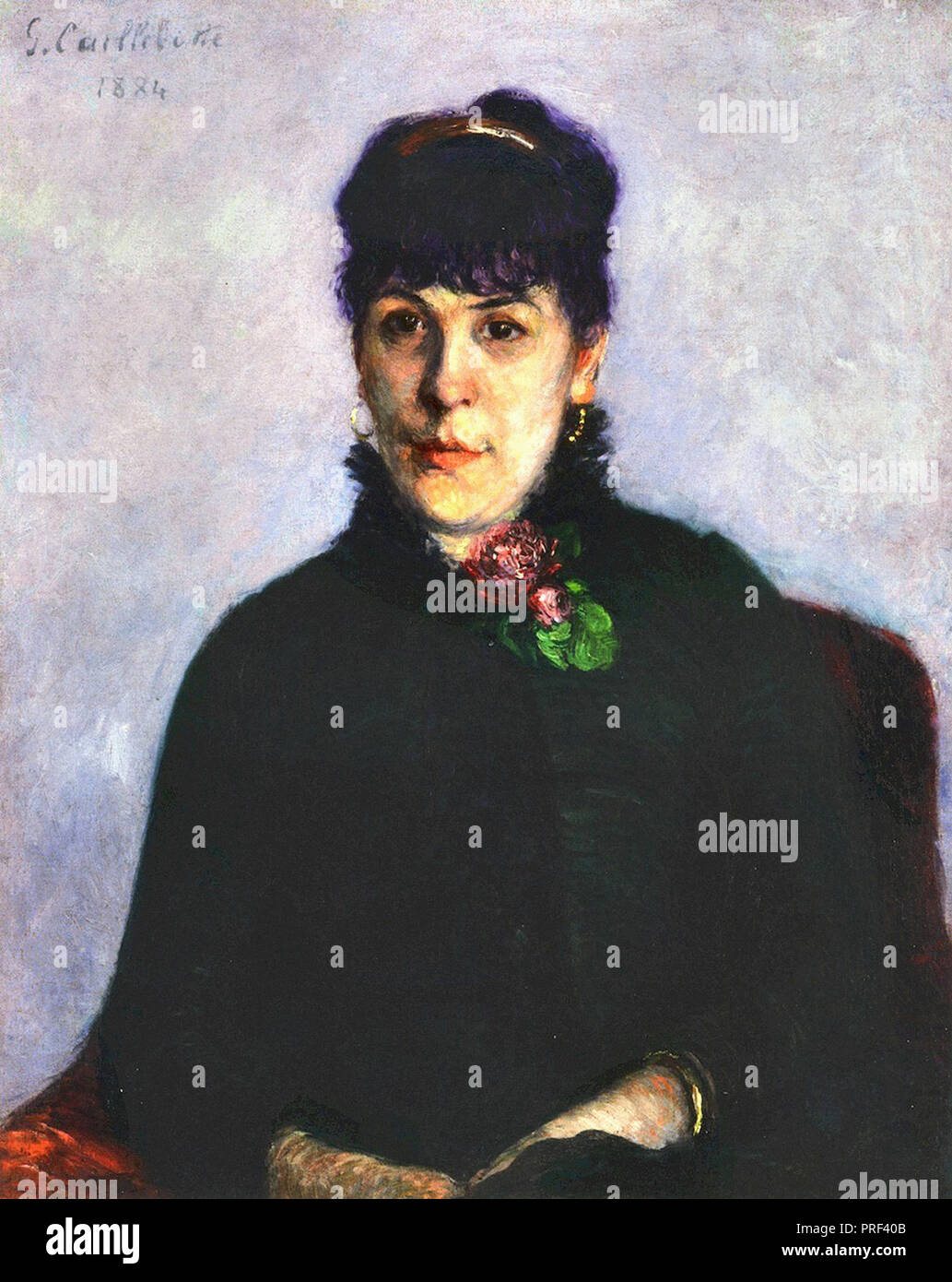 Caillebotte  Gustave - Woman with a Rose - Stock Image