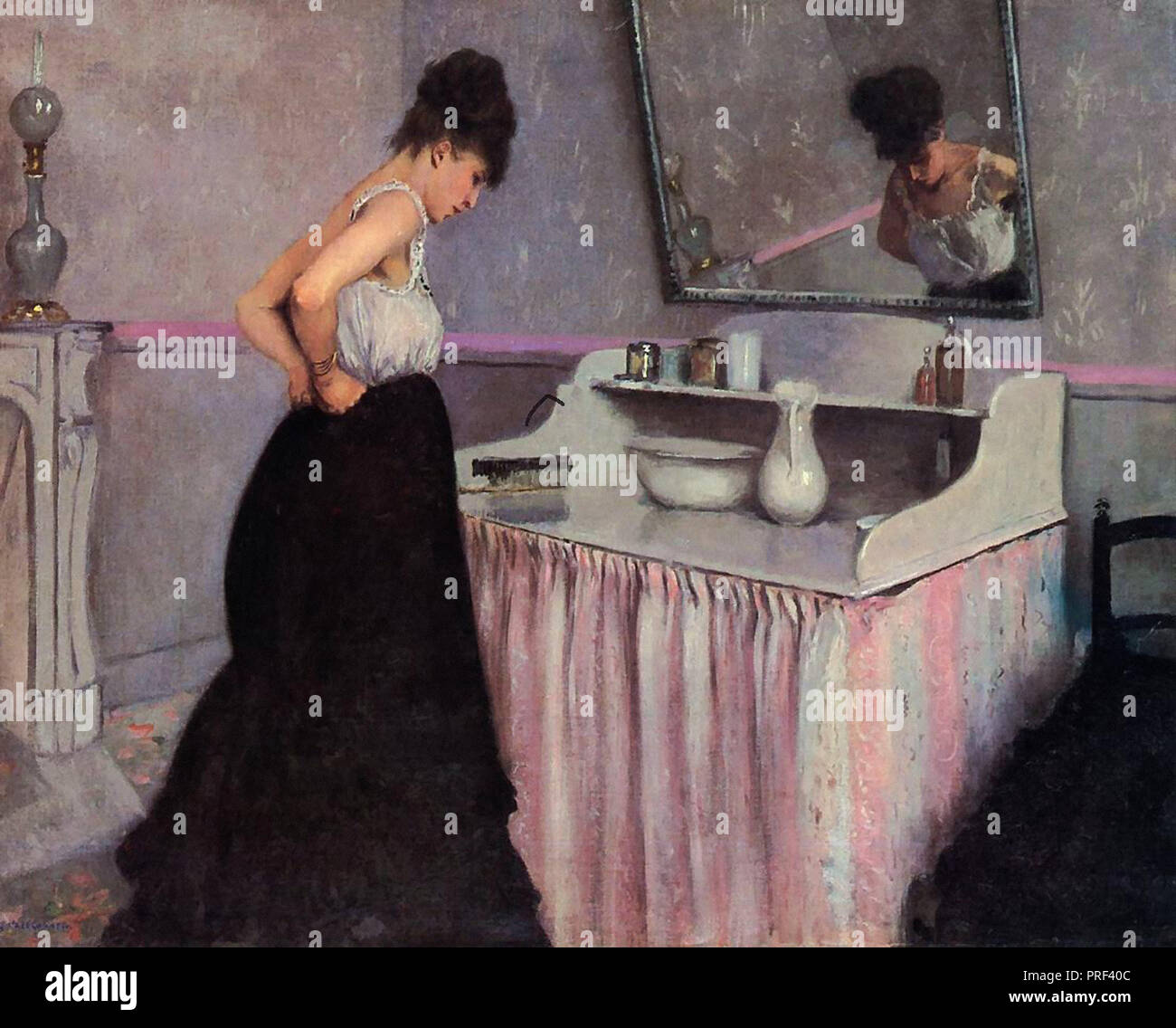 Caillebotte  Gustave - Woman at a Dressing Table - Stock Image