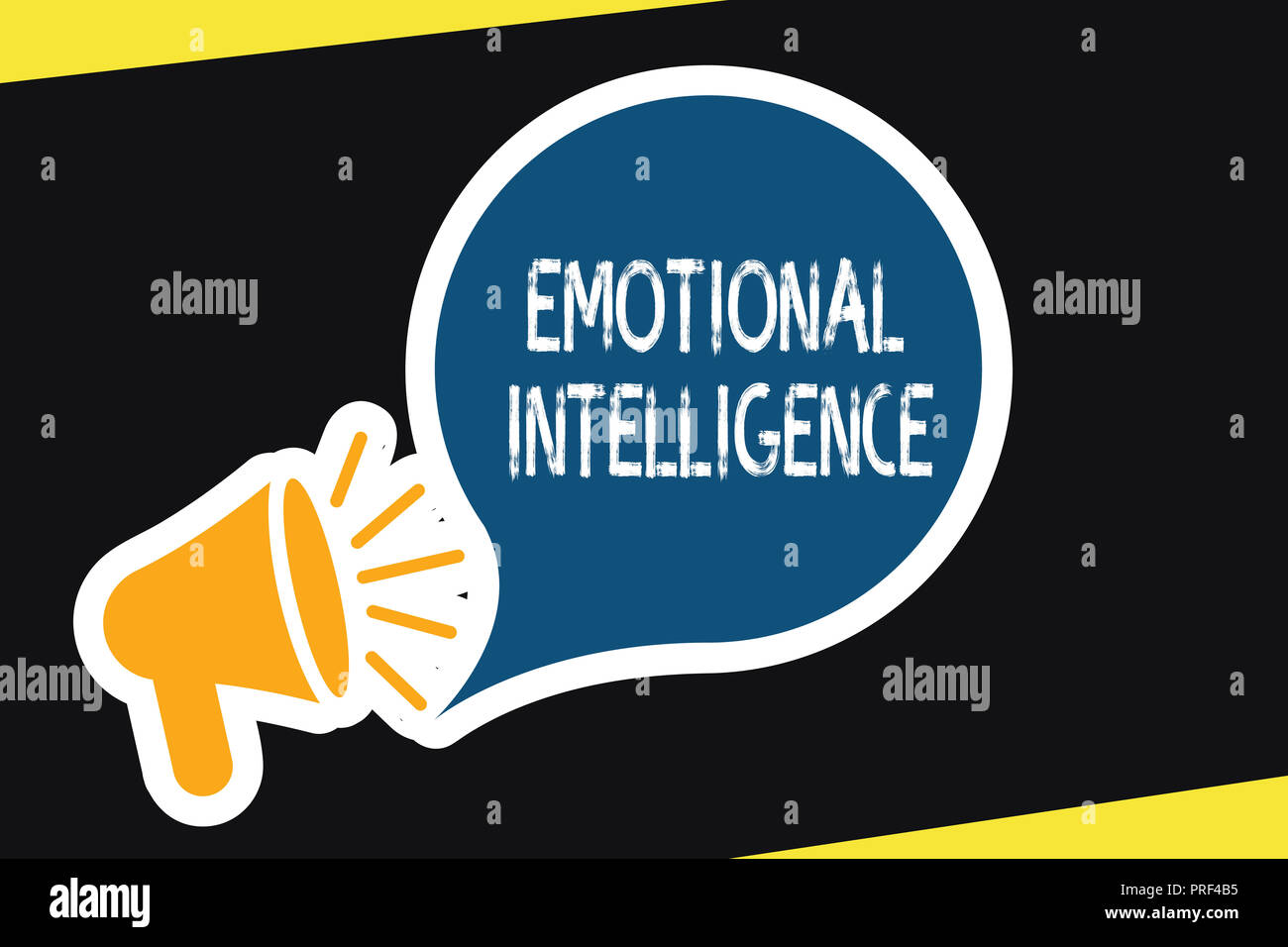 Handwriting text Emotional Intelligence. Concept meaning Self and Social Awareness Handle relationships well. - Stock Image