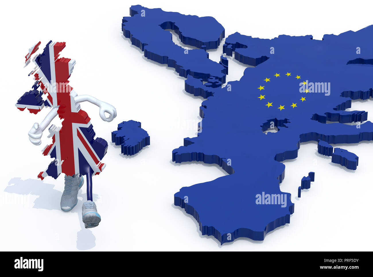 map of United Kingdom with arms, legs and sneackers on his feet that runs away from Europe, 3d illustration Stock Photo