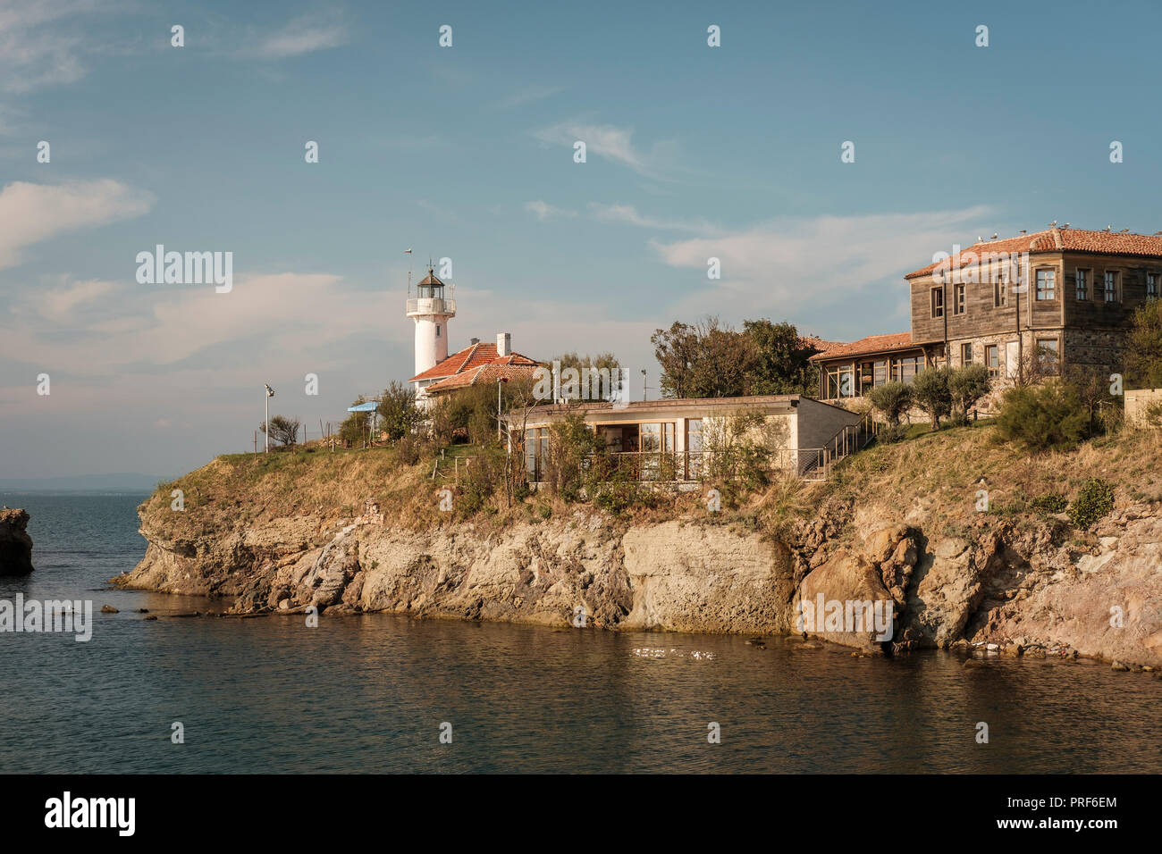 St. Anastasia Island is a Bulgarian islet in the Black Sea. It is located 1.5 km off the coast near Chernomorets, at 12 metres above sea level, and co - Stock Image