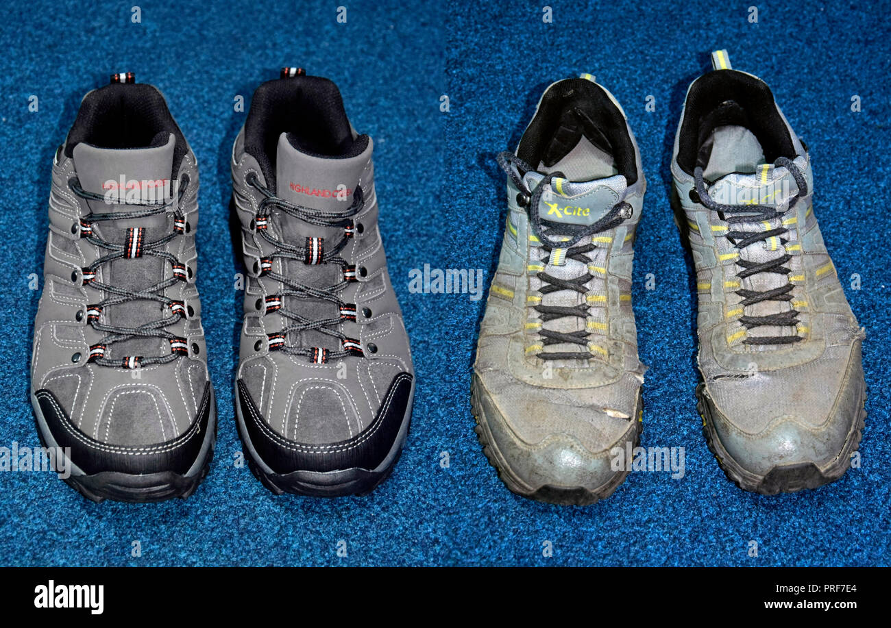 A pair of new, unused trekking shoes versus a pair of used, worn out trekking shoes, on blue background - Stock Image