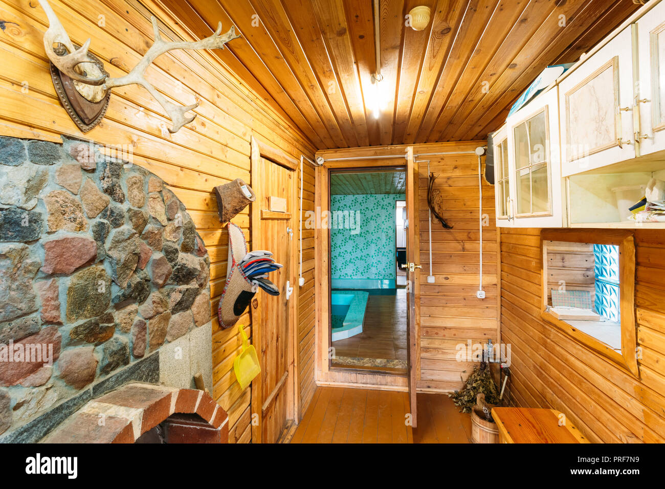 Dressing Room Or Cloakroom In Russian Bath Or Interior Of Sauna ...
