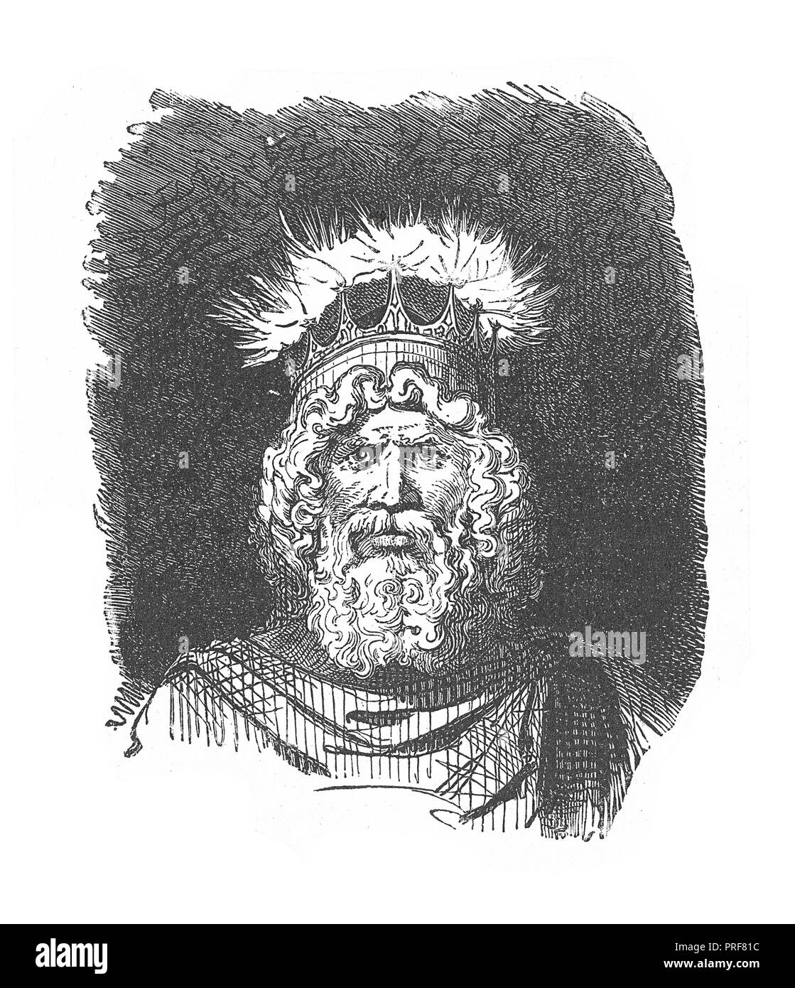 Original artwork of Thor, a god associated with thunder, lightning, storms, oak trees, strength, the protection of mankind, and also hallowing, healin - Stock Image