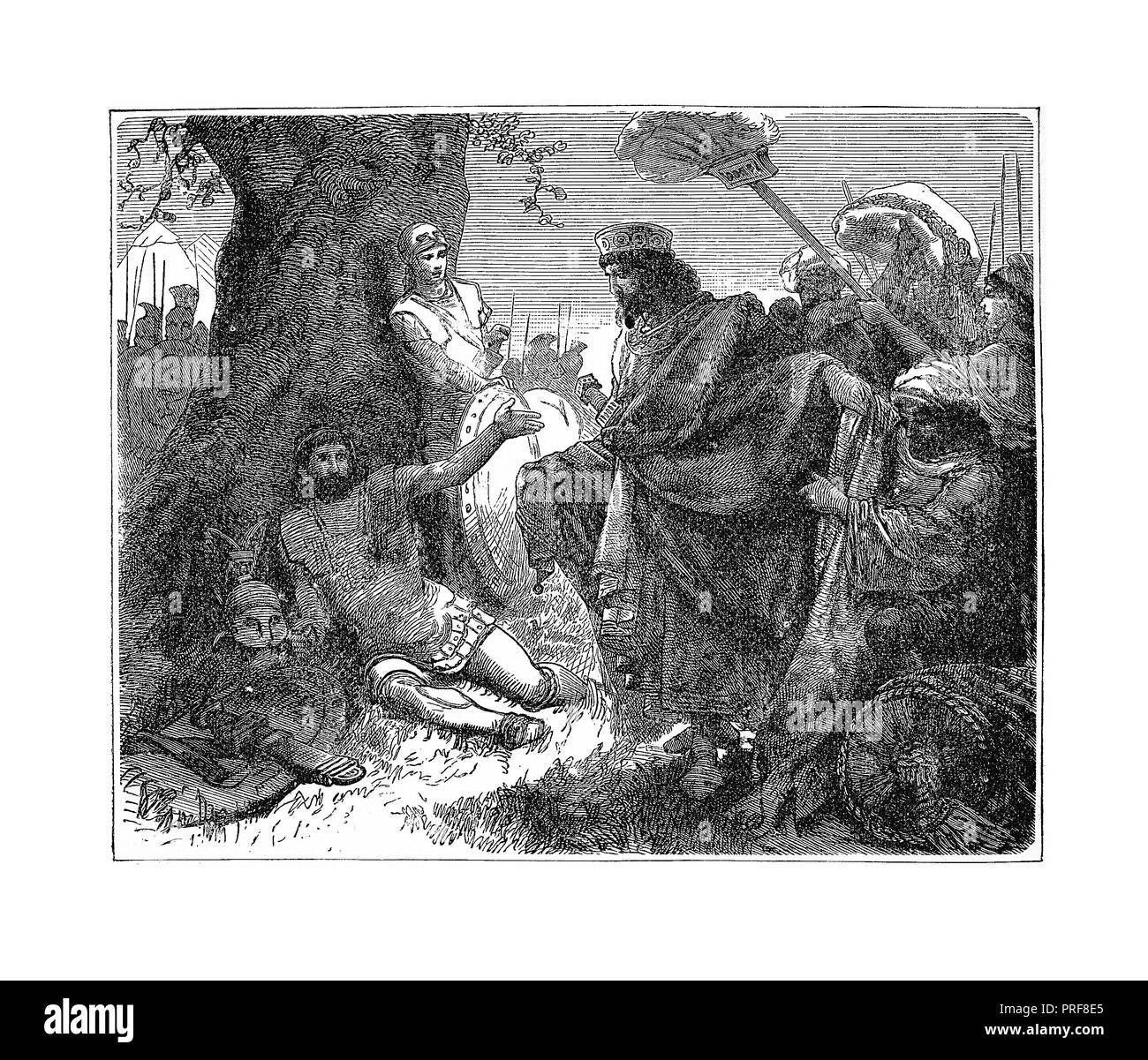 Original artwork of Pharnabazus and Agesilaus meet. Published in A pictorial history of the world's great nations: from the earliest dates to the pres - Stock Image