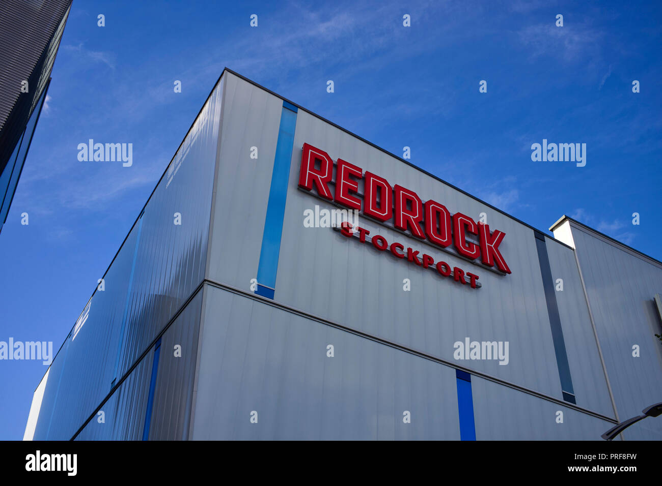Redrock building signage in Stockport - Stock Image