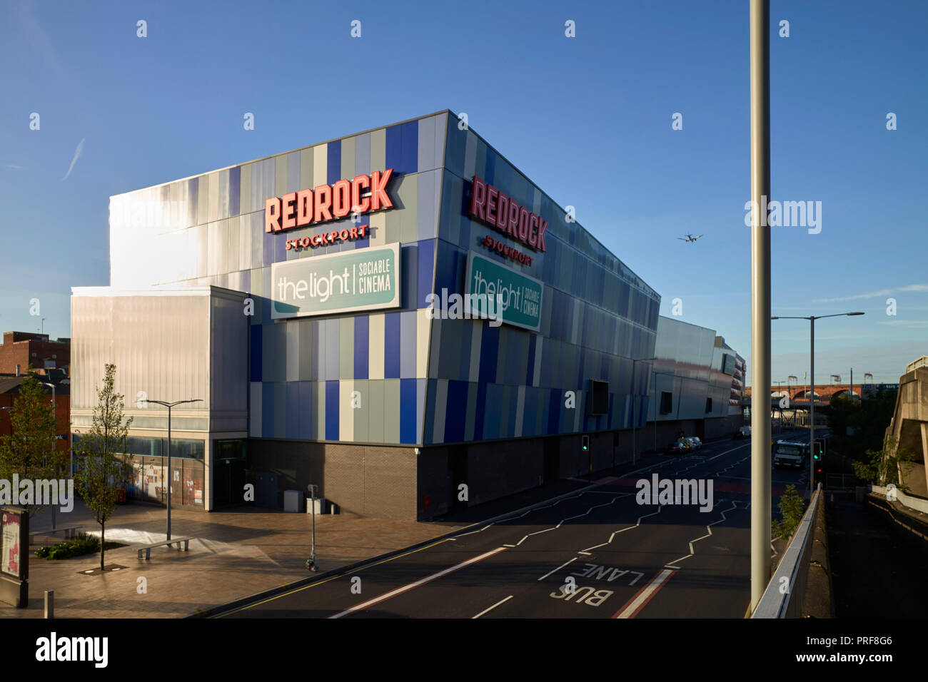 Redrock exterior at Stockport in the early morning - Stock Image