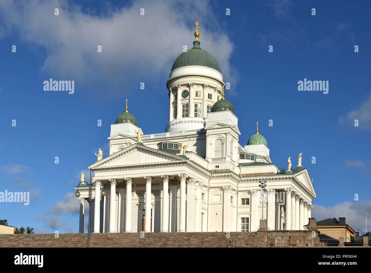 Finnish Evangelical Lutheran cathedral of Diocese (1852), located in neighborhood of Kruununhaka. Helsinki, Suomi - Stock Image