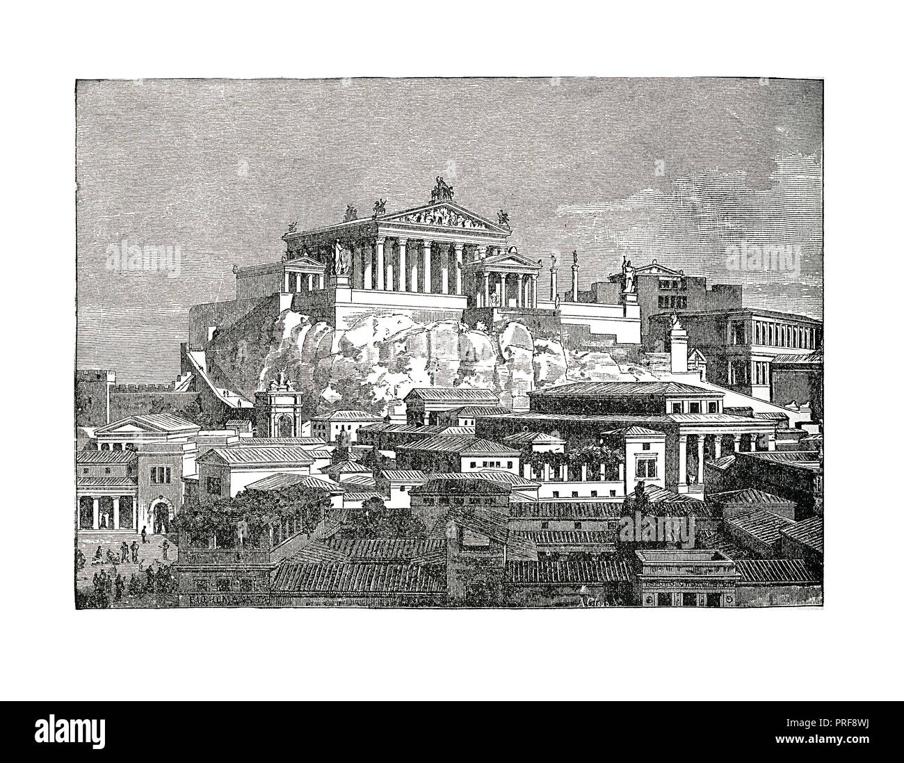 Original artwork of the Capitol - one of the seven hills of Rome, between the Forum and the Campus Martius and . Published in A pictorial history of t - Stock Image