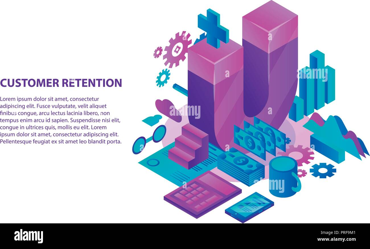 Management customer retention concept background, isometric style Stock Vector