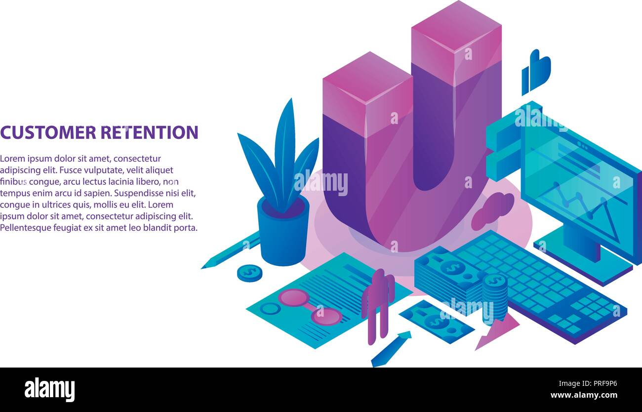 Retention strategy concept background, isometric style - Stock Image
