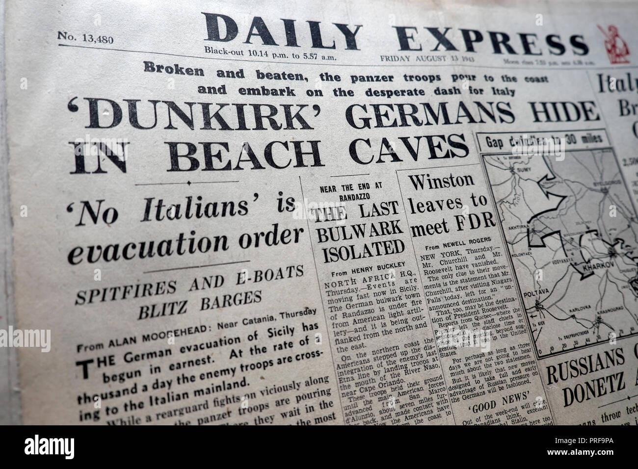 Front page headlines of the Daily Express newspaper