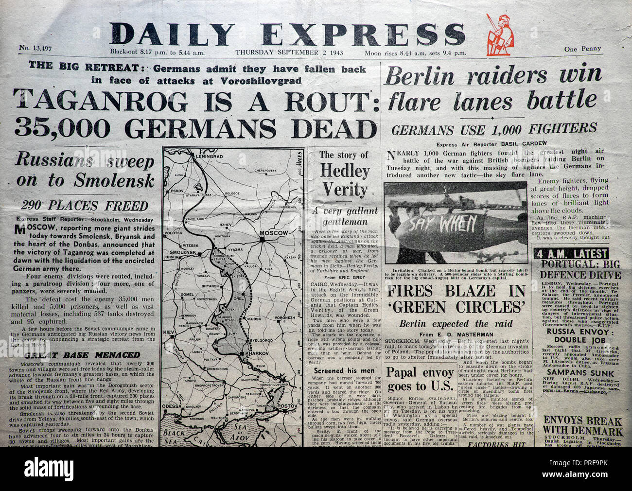 'Taganrog is a Rout: 35,000 Germans Dead' front page headline of the Daily Express newspaper 2 September 1943  London UK  historical archive - Stock Image