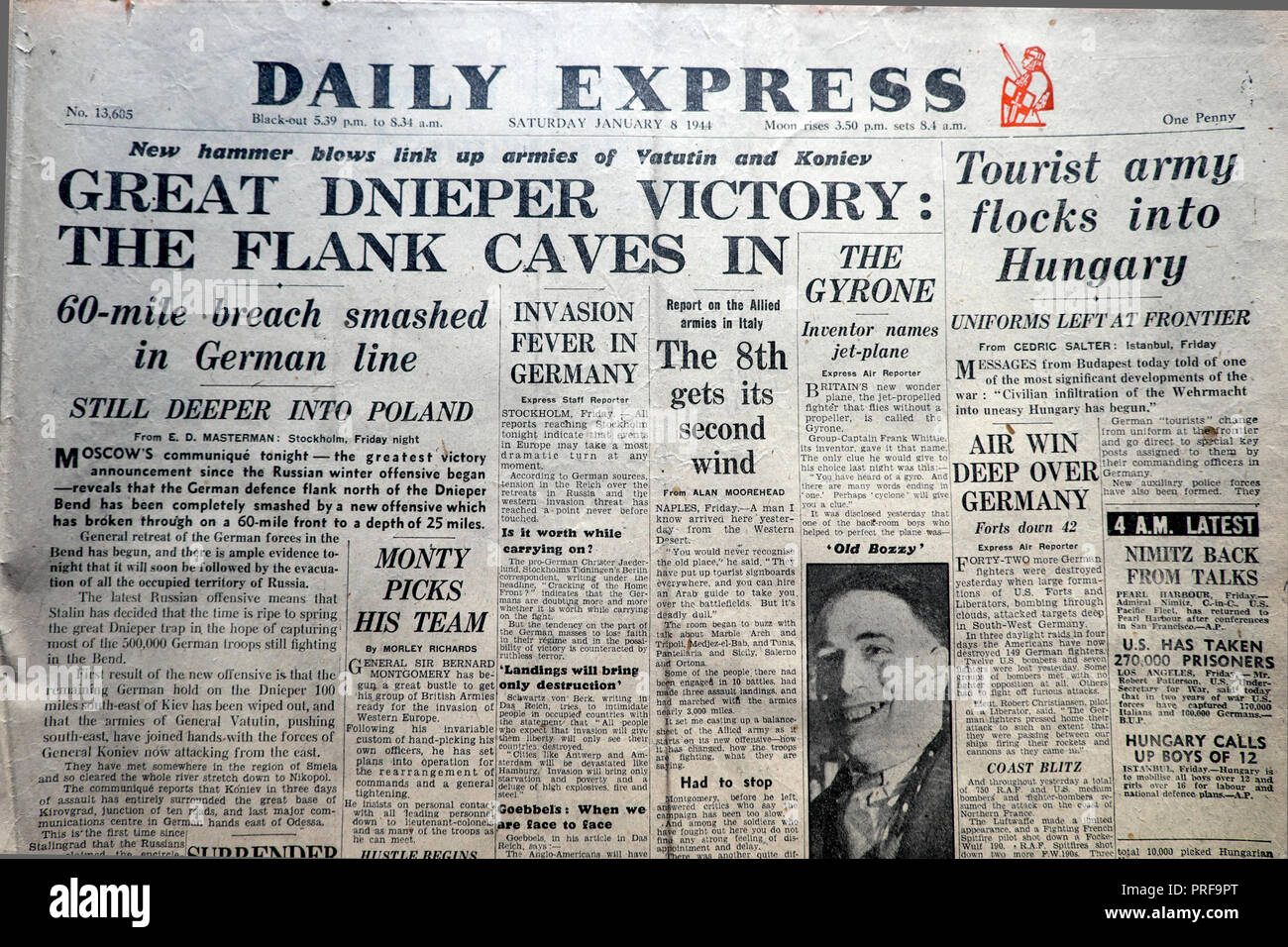 Front page headline in the Daily Express newspaper Second World War WWII  'Great Dnieper Victory The Flank Caves In' January 8 1944,  London  England UK - Stock Image