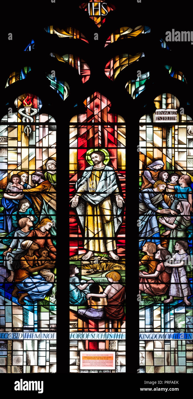'The Newton Window' by Alfred Fisher (1996), St John the Baptist Church, Tideswell, Derbyshire, UK - Stock Image