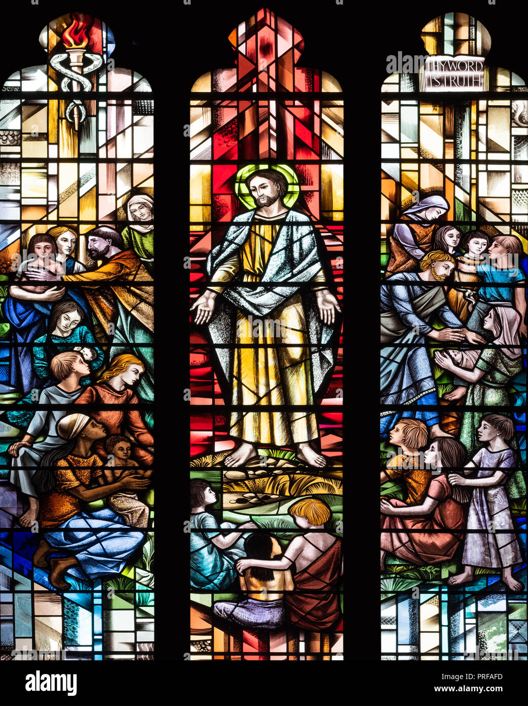 'Jesus and the Children' by Alfred Fisher (1996), St. John the Baptist Church, Tideswell, Derbyshire, UK - Stock Image