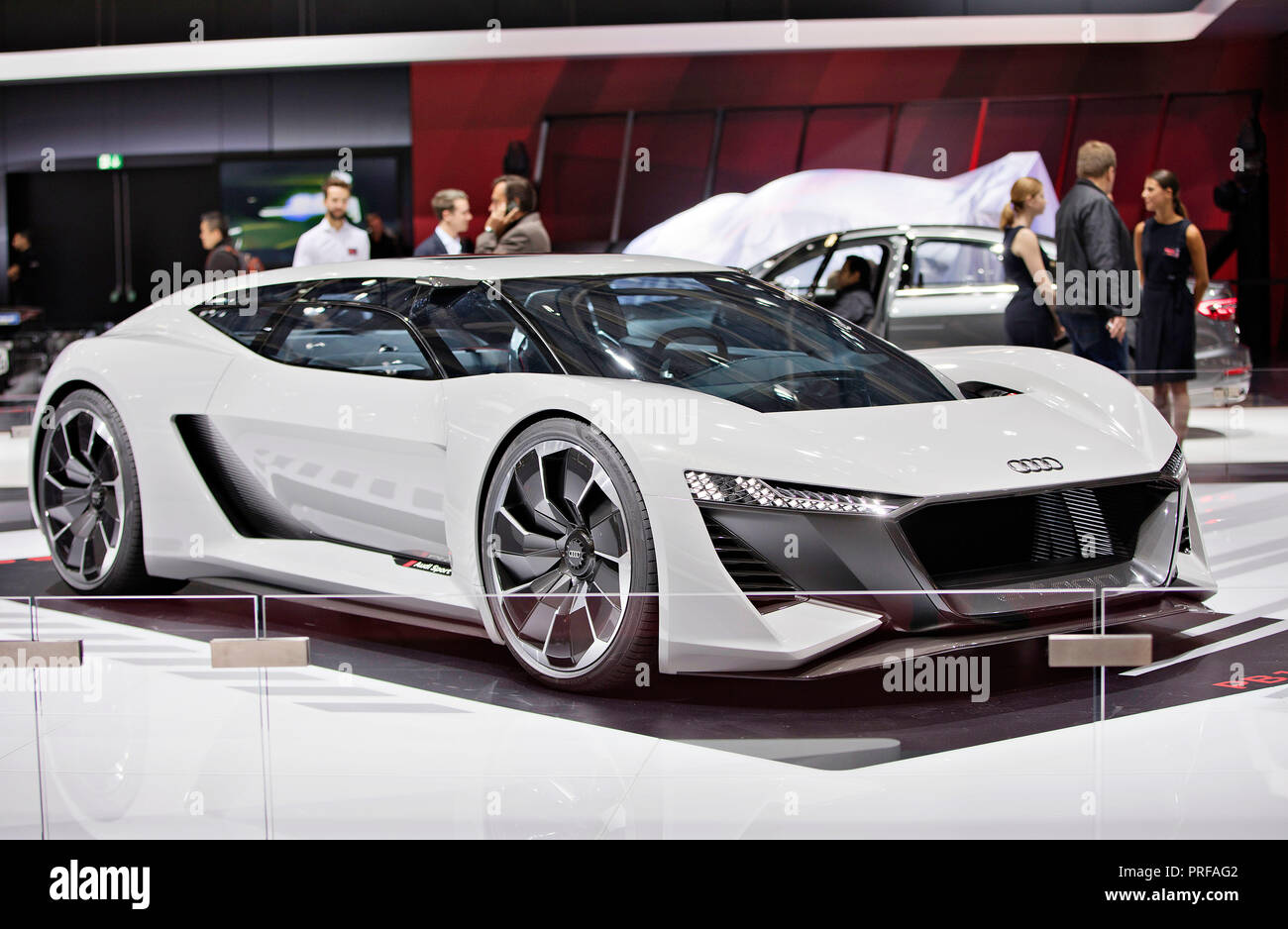 Audi presented new generation of Electric Supercar Audi PB18 e-tron during the first press day of the International Motor Show in Paris, on Tuesday, O - Stock Image