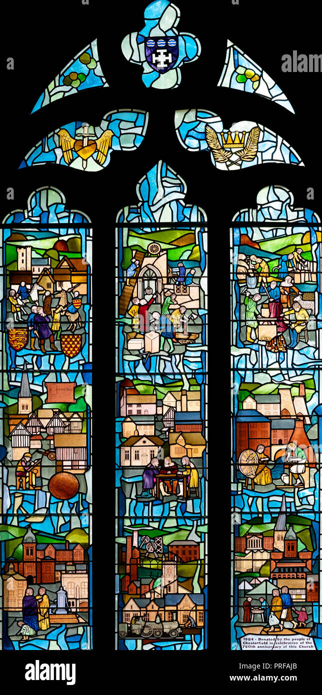 The Anniversary Window in Chesterfield Parish Church by GM Pentelow (1986), Chesterfield, Derbyshire, UK - Stock Image