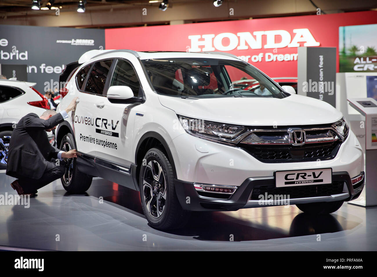 Honda CR-V Hybrid was presented in European Premiere during the first press day of the International Motor Show in Paris, on Tuesday, October 2nd, 201 - Stock Image