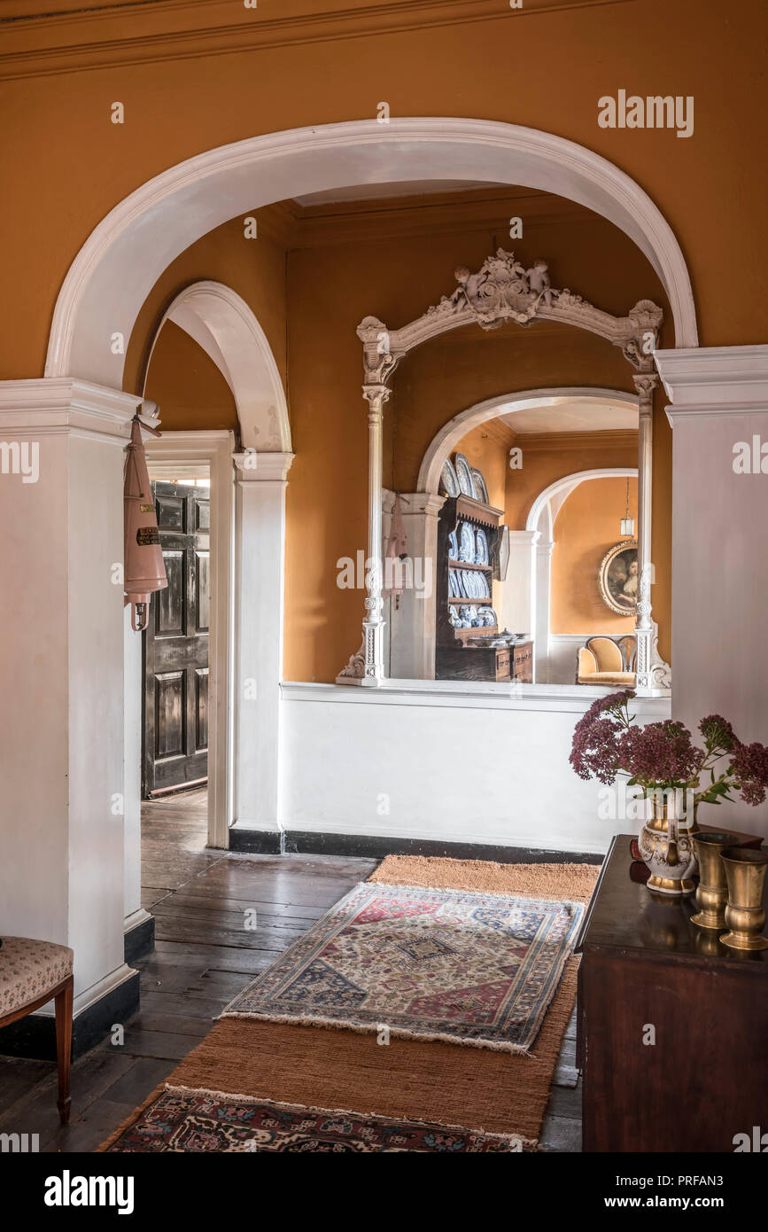 Arched Georgian Hallway With Large Mirror Stock Photo Alamy
