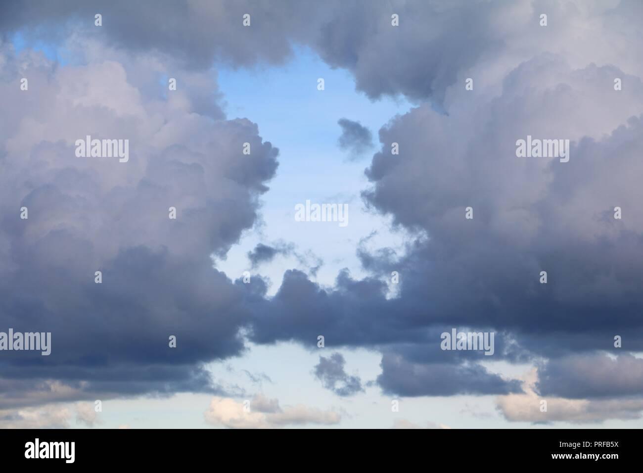 blue sky with big cloud and raincloud,  art of nature beautiful - Stock Image