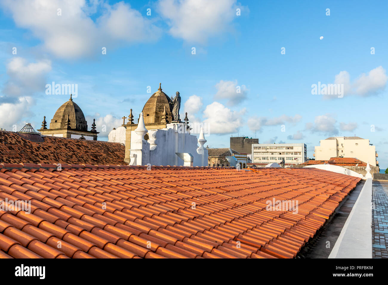 Rooftop view at Alfandega Bund (Cais da Alfândega), Recife, Pernambuco, Brazil - Stock Image