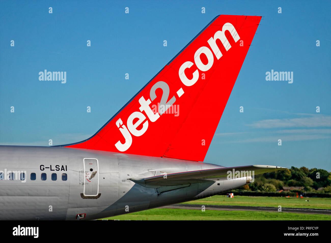 Jet2.com aircraft tail fin. - Stock Image