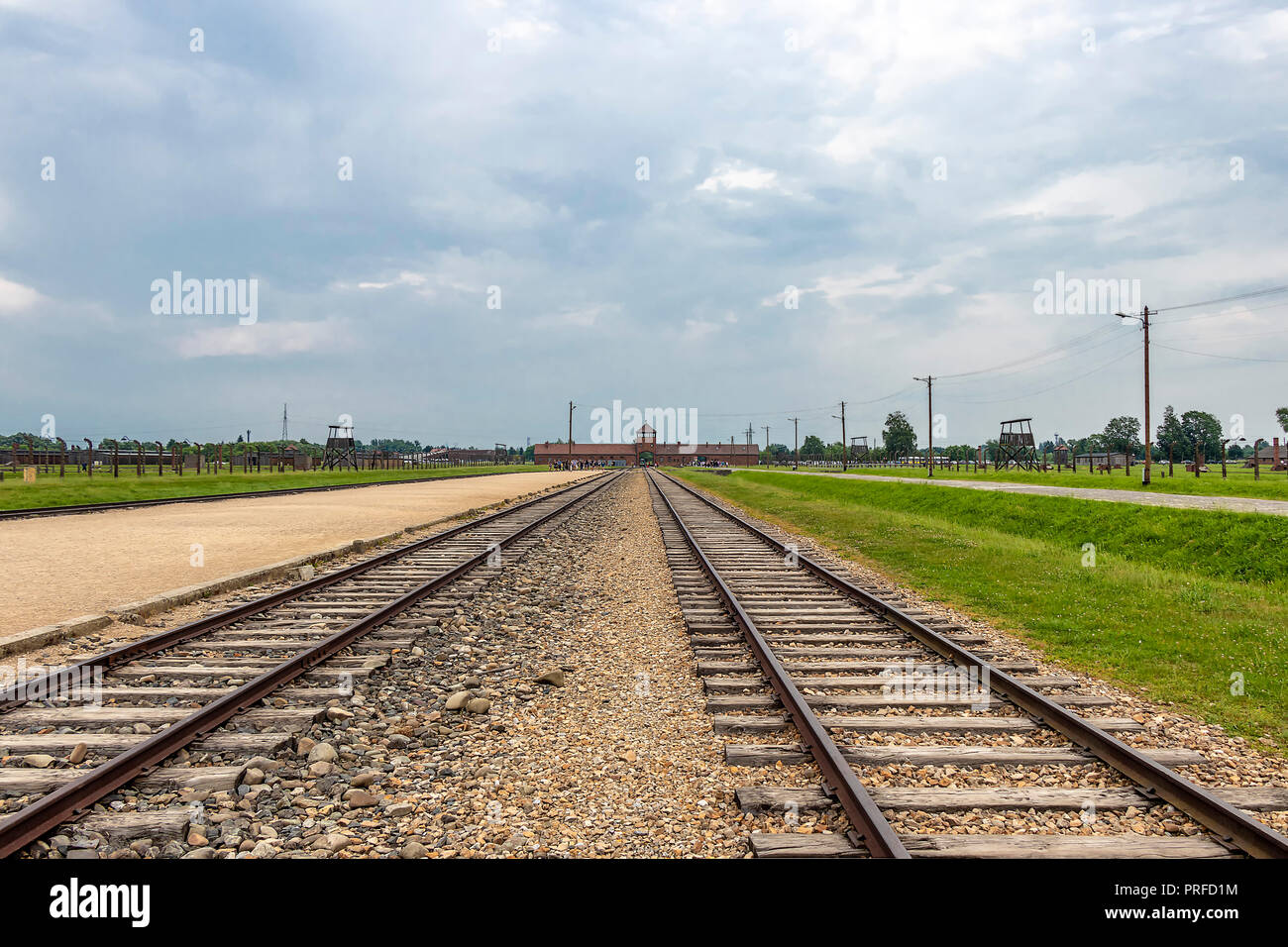 Inside Auschwitz ii Birkenau concentration and extermination camp. Main building - Stock Image
