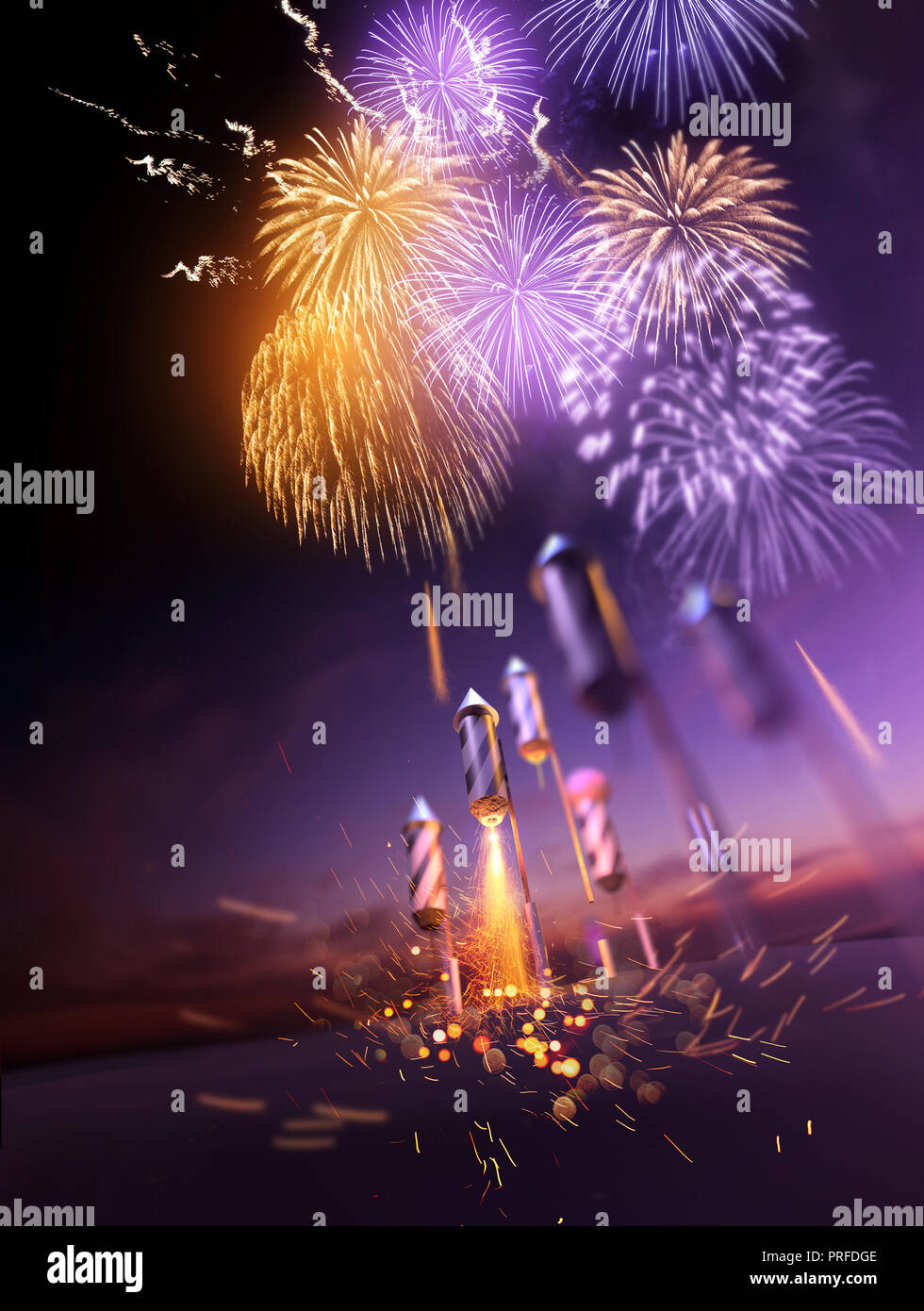Firework rockets flying into the air and bursting into gold orange and purple breaks lighting up the night sky. Celebration display background. 3D ill Stock Photo