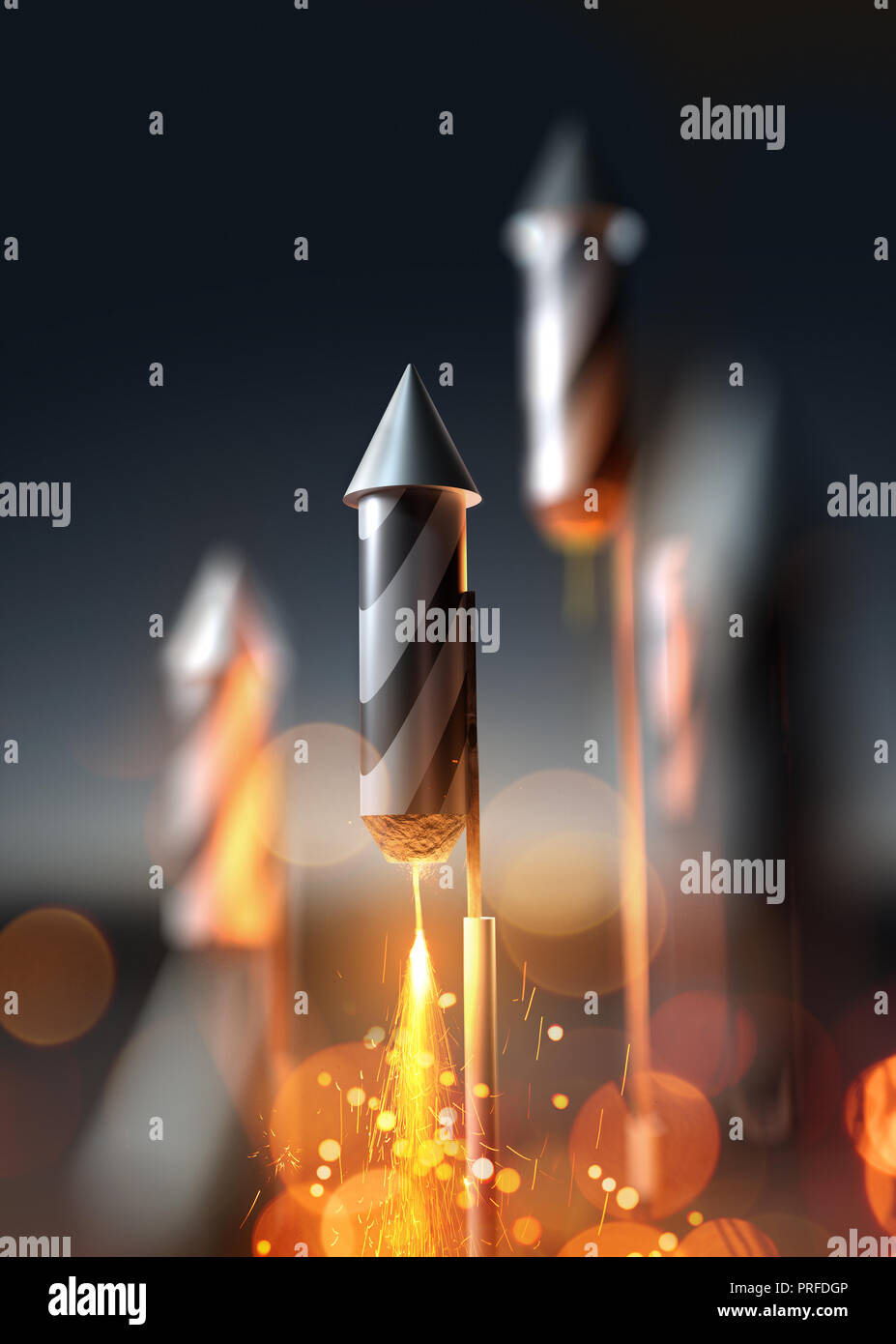 A close up image of a firework rocket about to launch into the night sky. 3D illustration. Stock Photo