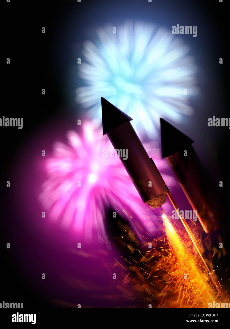 Close up image of firework rockets with a large display in the background. Bonfire night background - 3D illustration. Stock Photo