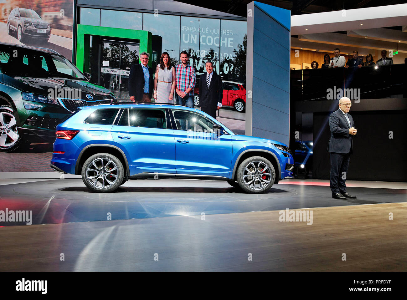 Skoda Auto CEO Bernhard Maier presented in World Premiere new version of SUV Skoda Kodiaq RS  during the first press day of the International Motor Sh - Stock Image