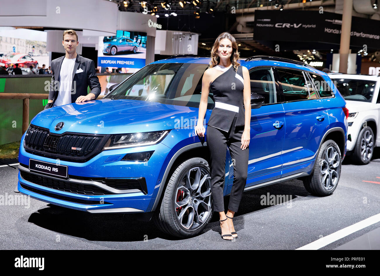 Skoda Auto carmaker presented in World Premiere new version of SUV Skoda Kodiaq RS  during the first press day of the International Motor Show in Pari - Stock Image