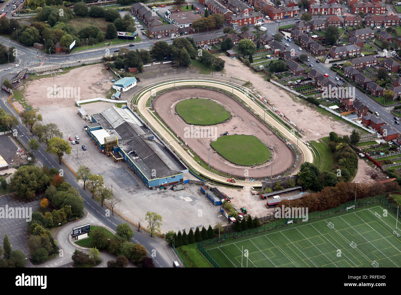 aerial view of Belle Vue Greyhound Stadium, Manchester - Stock Image