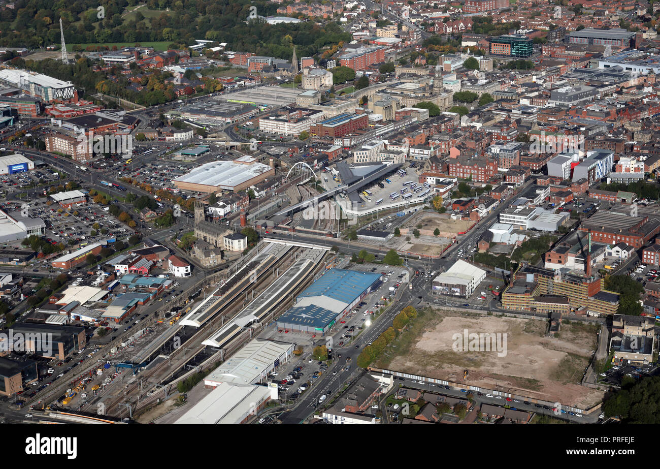 aerial view of Bolton Interchange, a combination of the Railway Station & Bus Station - Stock Image