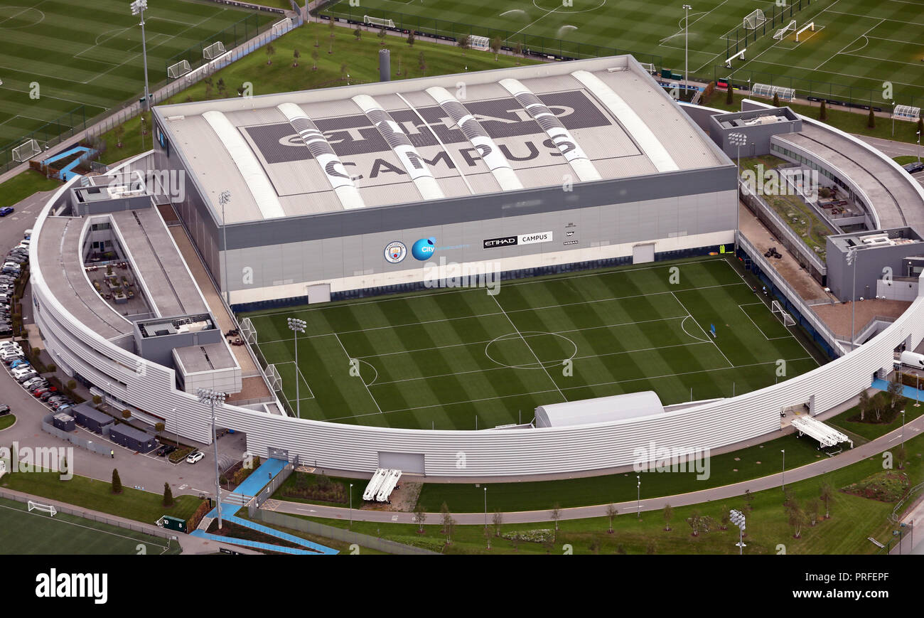 aerial view of the Manchester City fc, CFA - 1st Team Centre, part of the Etihad Campus - Stock Image