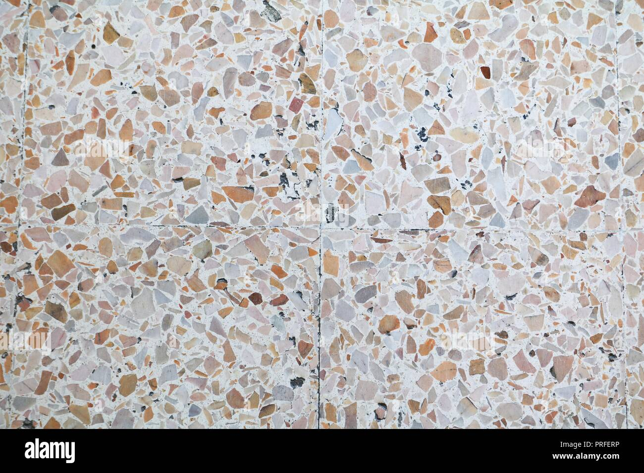 terrazzo floor texture, polished stone pattern wall and beautiful color surface marble for background image horizontal - Stock Image