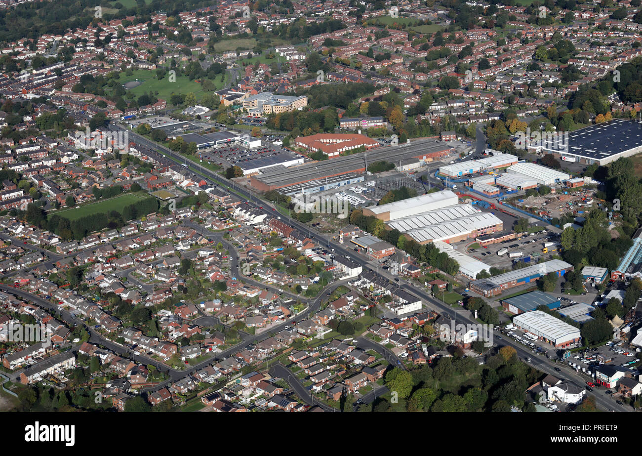 aerial view of Boundary Industrial Estate, Radcliffe, Bolton, Greater Manchester BL2 6QY - Stock Image