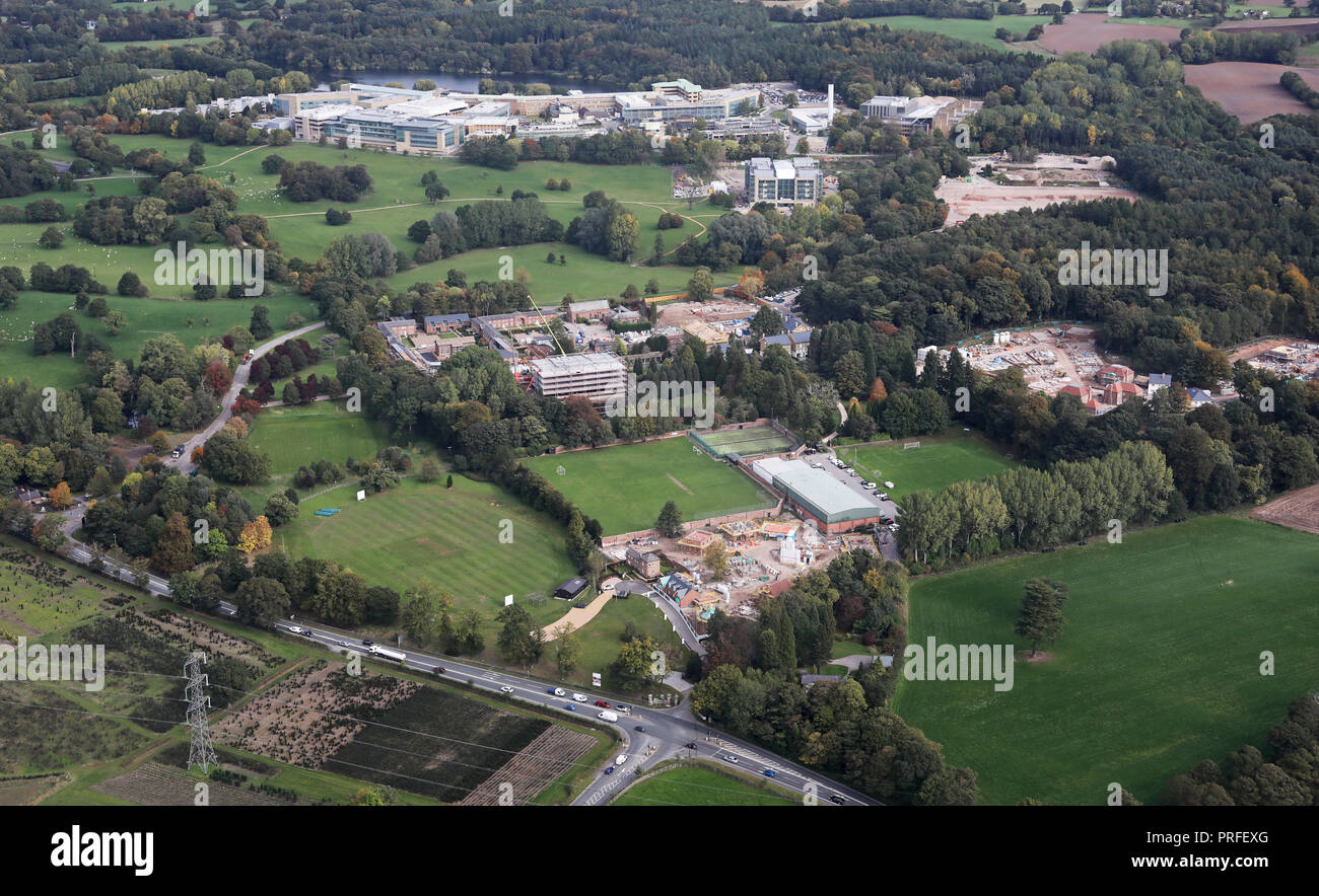 aerial view of Alderley Park, Macclesfield, Cheshire - Stock Image