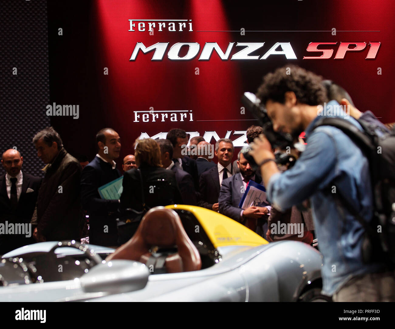 Italian carmaker Ferrari unveiled two new speedsters Ferrari SP1 and SP2 during the first day of International Paris Motorshow on Tuesday, October 2nd - Stock Image