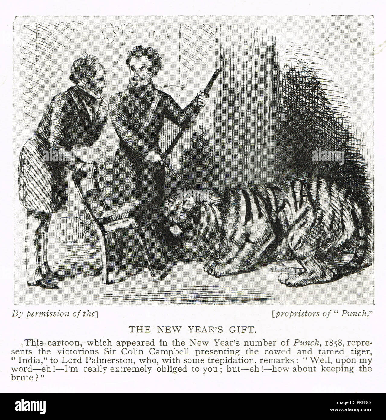 Punch cartoon with , with Lord Palmerston, Sir Colin Campbell, referencing the Sepoy Mutiny of 1857, entitled  the new year's gift, India is represented by a cowed tiger - Stock Image
