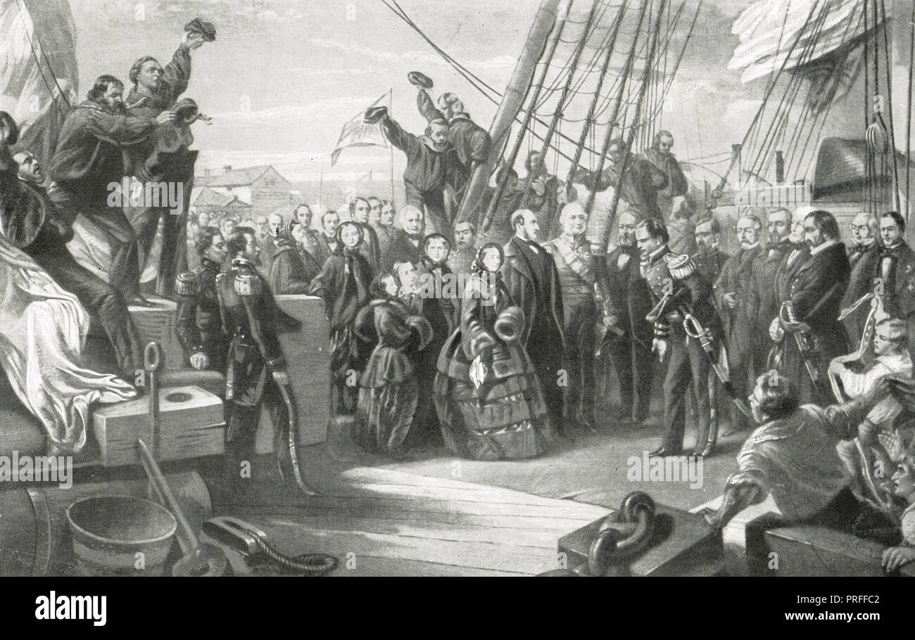 Visit to HMS Resolute, Arctic exploration ship, by Queen Victoria, 16 December 1856 - Stock Image