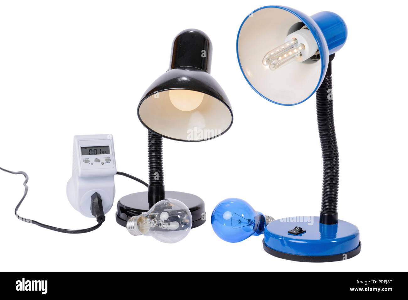 Led lamp illuminated with lampholder replaces the old obsolete light bulbs. An energy meter calculates the savings of electrical energy. - Stock Image