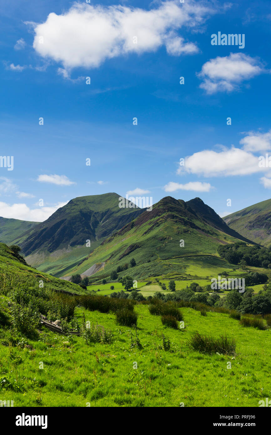 Newlands valley Cumbria, looking south-west from Littletown towards Scope End with Hindscarth beyond it.  Beyond these peaks lies Buttermere Fell. - Stock Image