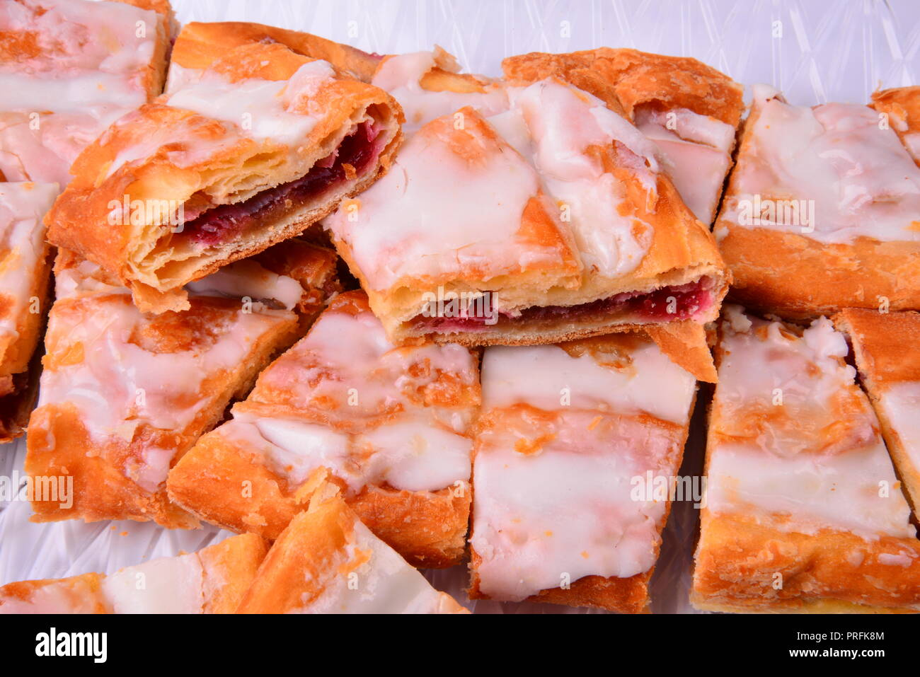 The sweet pastry treat raspberry Kringle  from Racine Wisconsin is a local favorite. - Stock Image