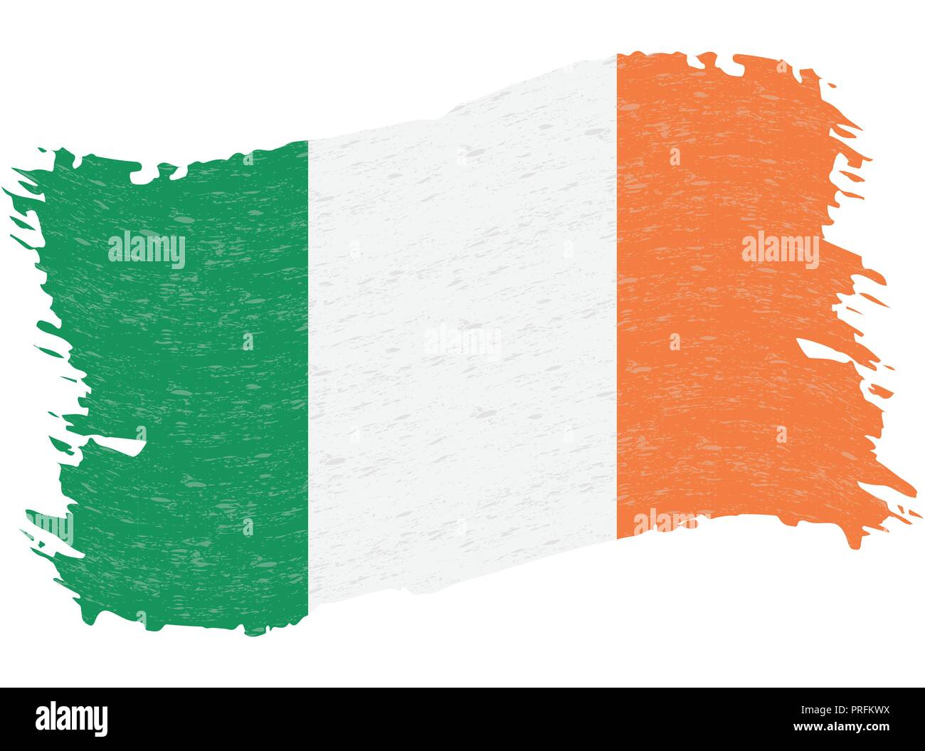 Flag of Ireland, Grunge Abstract Brush Stroke Isolated On A White Background. Vector Illustration. - Stock Vector