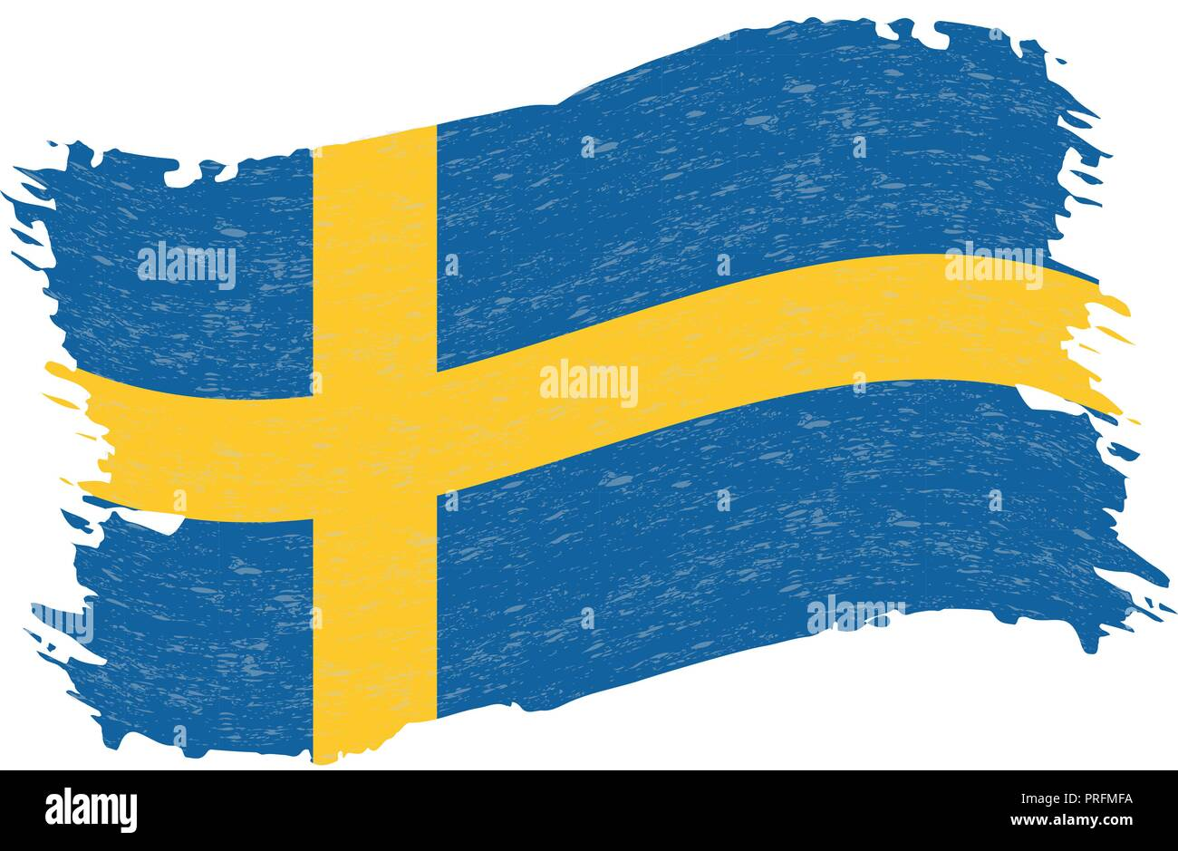 Flag of Sweden, Grunge Abstract Brush Stroke Isolated On A White Background. Vector Illustration. - Stock Image