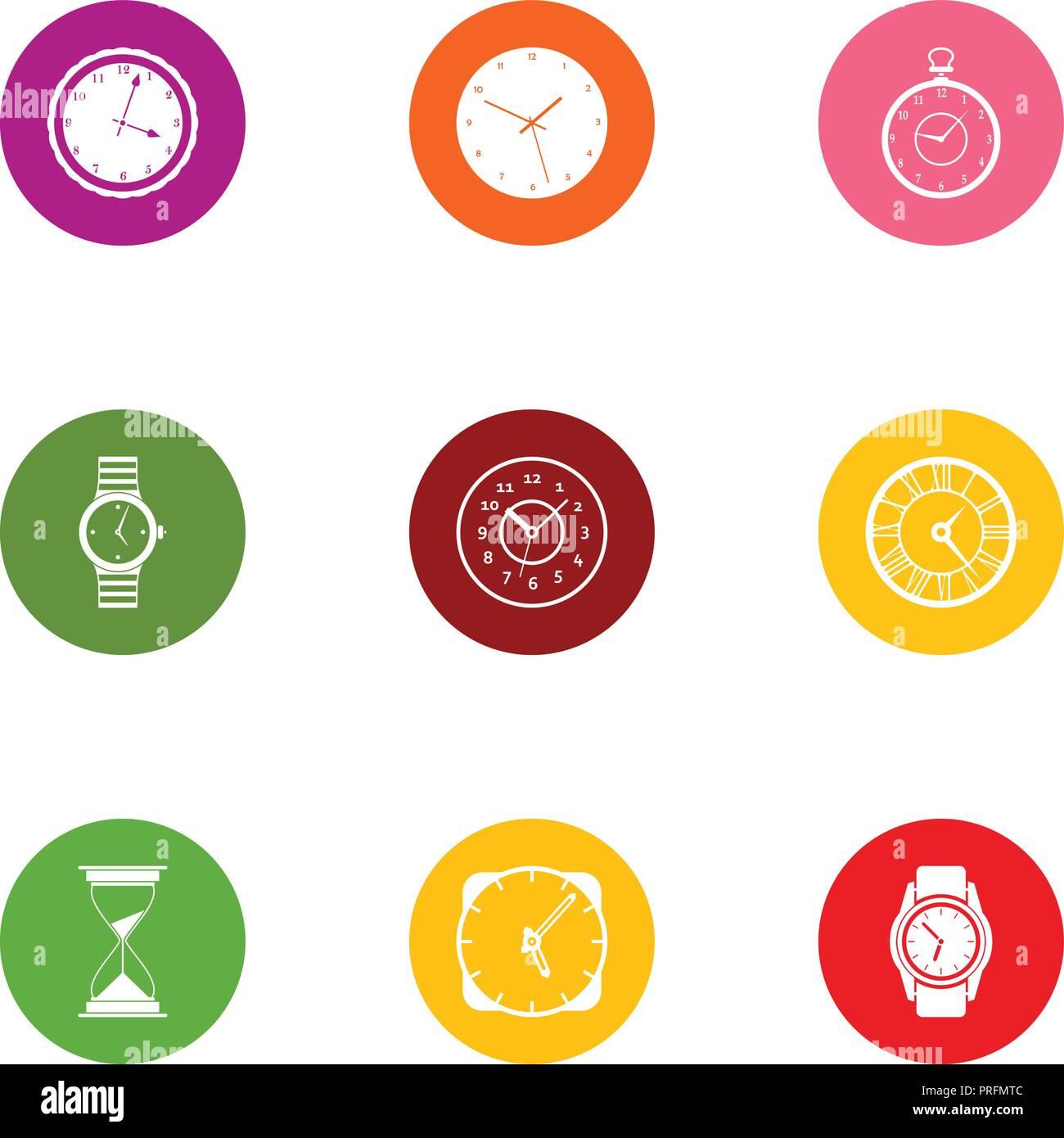 Timepiece icons set, flat style - Stock Image