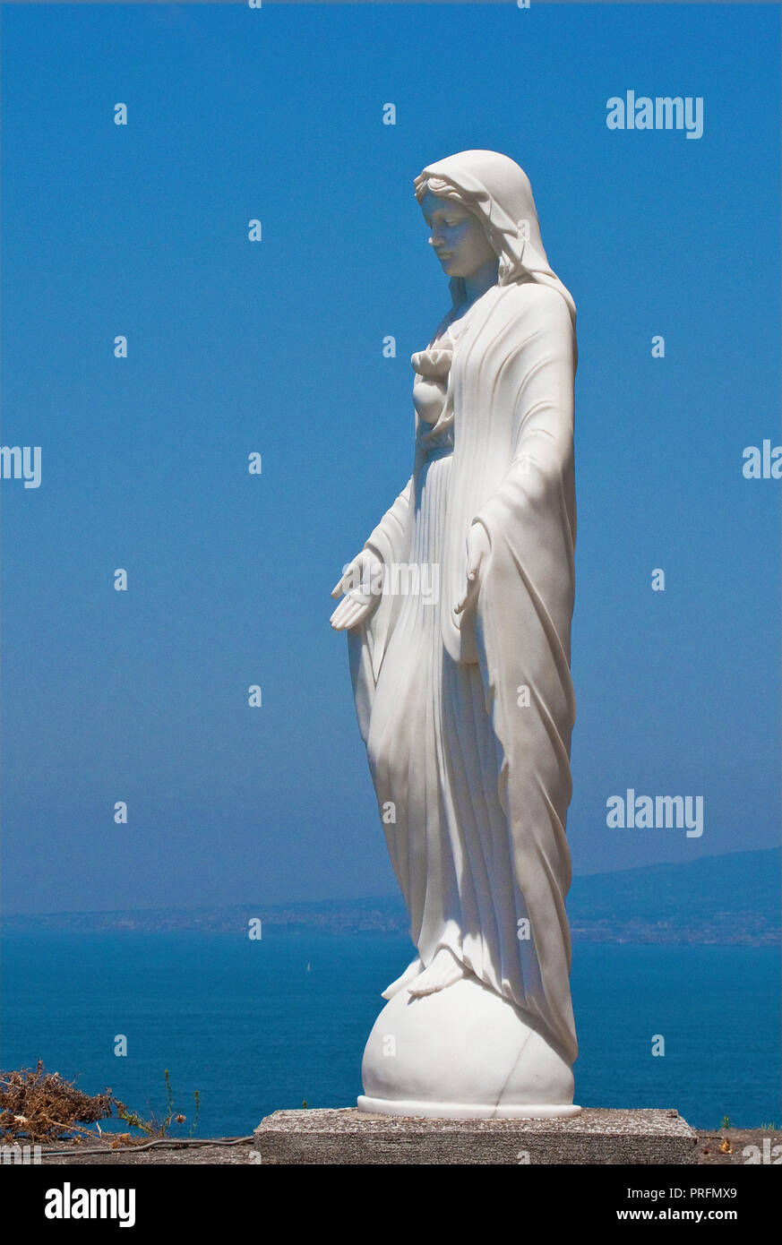 Statue of holy Mary at the church Annunziata, Vico Equense, Peninsula of Sorrento, Gulf of Naples, Campania, Italy - Stock Image