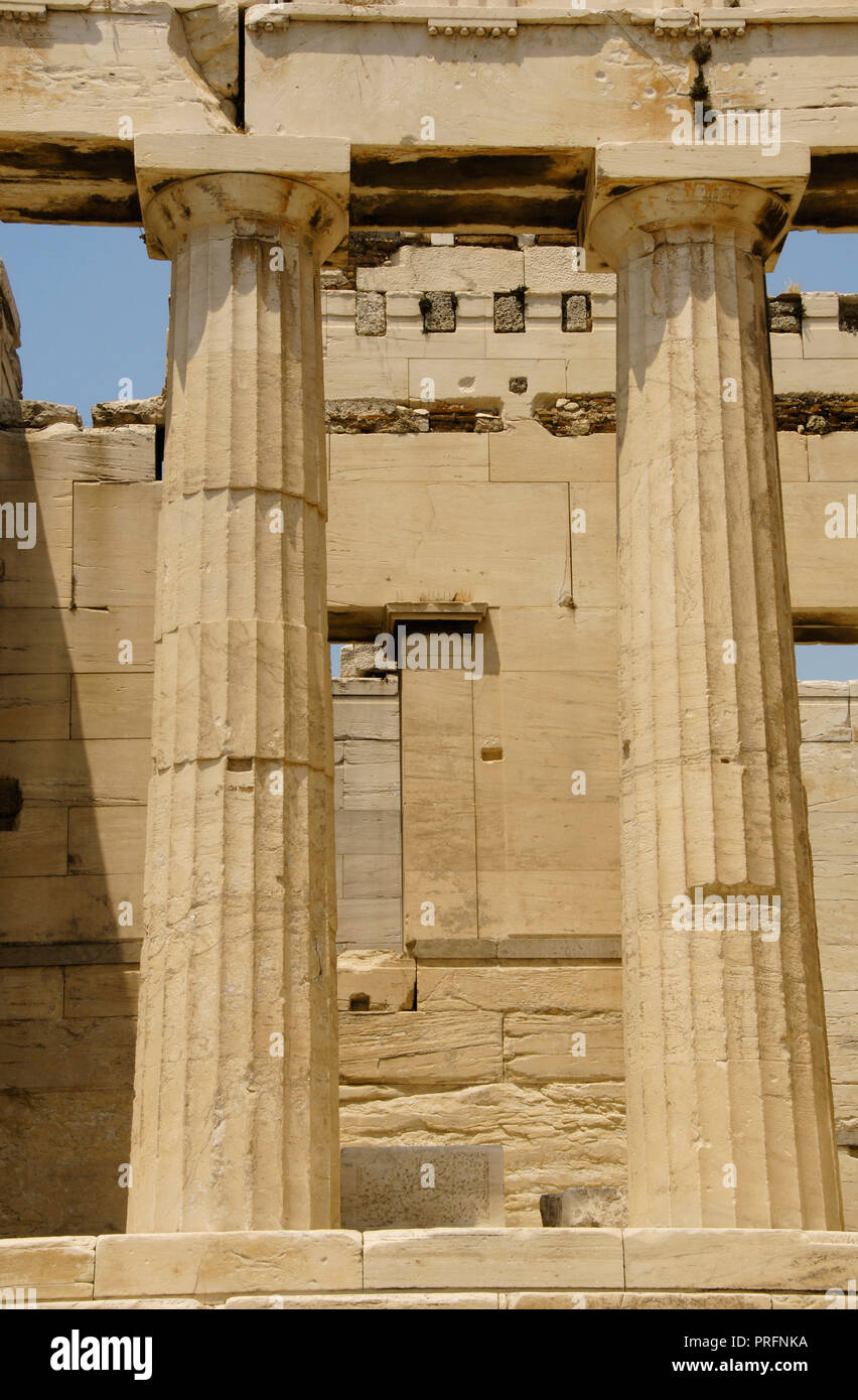 Greece. Athens. Propylaea. Monumental gateway to the Acropolis. It was designed by the architect Mnesicles, 437 BC-432BC. (The Age of Pericles). Doric style columns. Architectural detail. Stock Photo